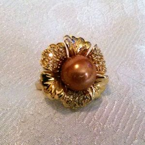 Faux Pearl Flower Statement Fashion Ring